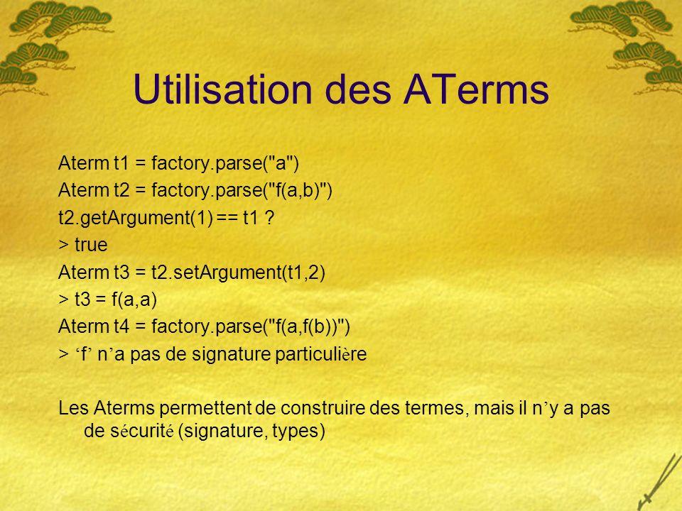 Utilisation des ATerms Aterm t1 = factory.parse(