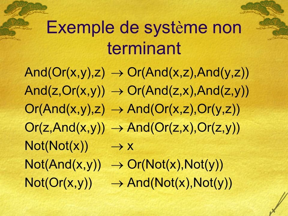 Exemple de syst è me non terminant And(Or(x,y),z) Or(And(x,z),And(y,z)) And(z,Or(x,y)) Or(And(z,x),And(z,y)) Or(And(x,y),z) And(Or(x,z),Or(y,z)) Or(z,And(x,y)) And(Or(z,x),Or(z,y)) Not(Not(x)) x Not(And(x,y)) Or(Not(x),Not(y)) Not(Or(x,y)) And(Not(x),Not(y))