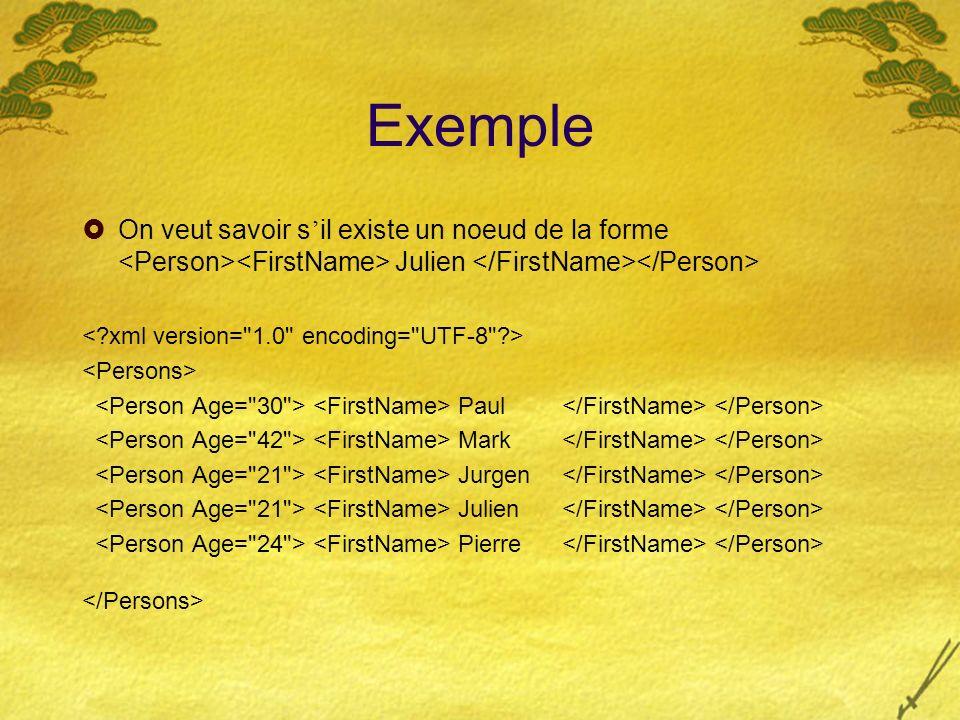 Filtrage Il faut savoir si un pattern XML filtre vers un noeud de document XML On aimerait pouvoir é crire %match(t) { Julien -> { // Noeud trouv é } Ou plus g é n é ralement : X -> { … }