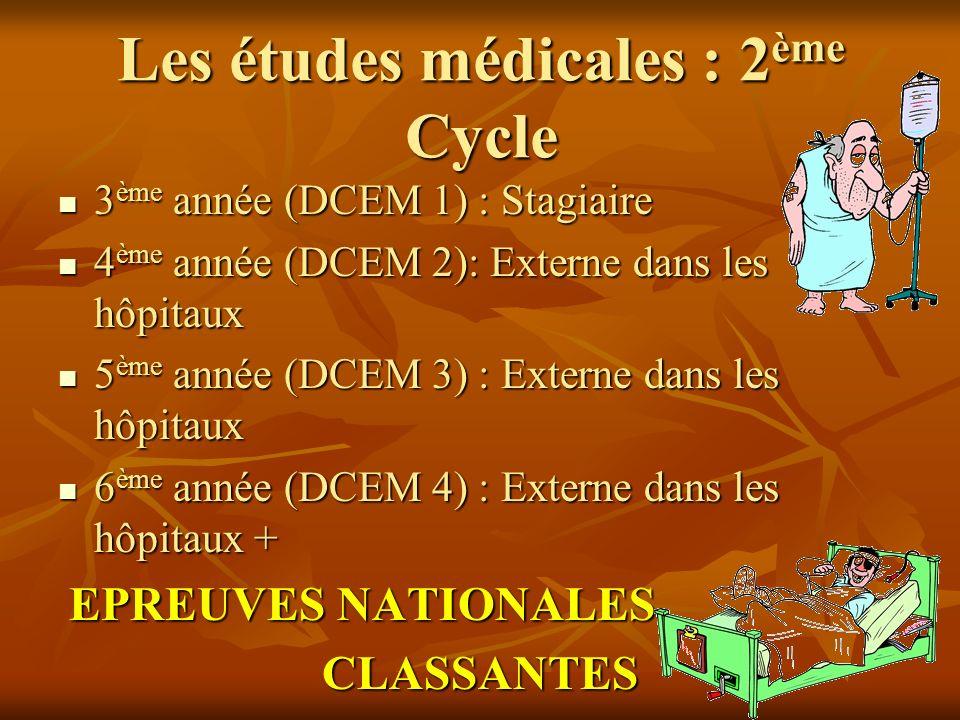 Les études médicales : 2 ème Cycle 3 ème année (DCEM 1) : Stagiaire 3 ème année (DCEM 1) : Stagiaire 4 ème année (DCEM 2): Externe dans les hôpitaux 4 ème année (DCEM 2): Externe dans les hôpitaux 5 ème année (DCEM 3) : Externe dans les hôpitaux 5 ème année (DCEM 3) : Externe dans les hôpitaux 6 ème année (DCEM 4) : Externe dans les hôpitaux + 6 ème année (DCEM 4) : Externe dans les hôpitaux + EPREUVES NATIONALES EPREUVES NATIONALES CLASSANTES CLASSANTES