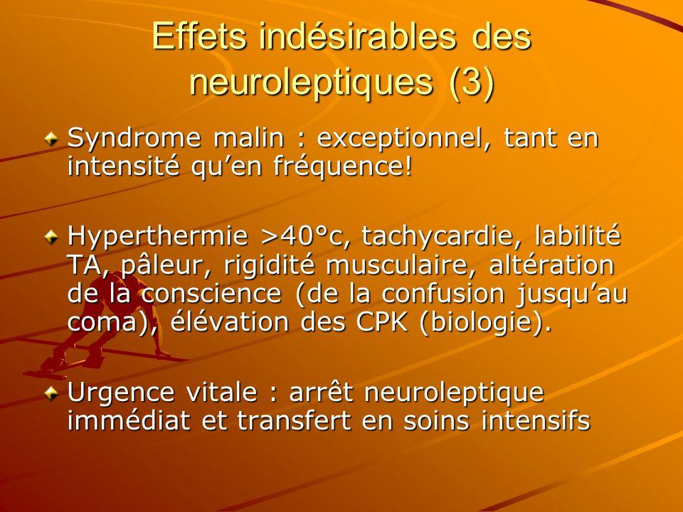 Effets indésirables des neuroleptiques (3) Syndrome malin : exceptionnel, tant en intensité quen fréquence! Hyperthermie >40°c, tachycardie, labilité