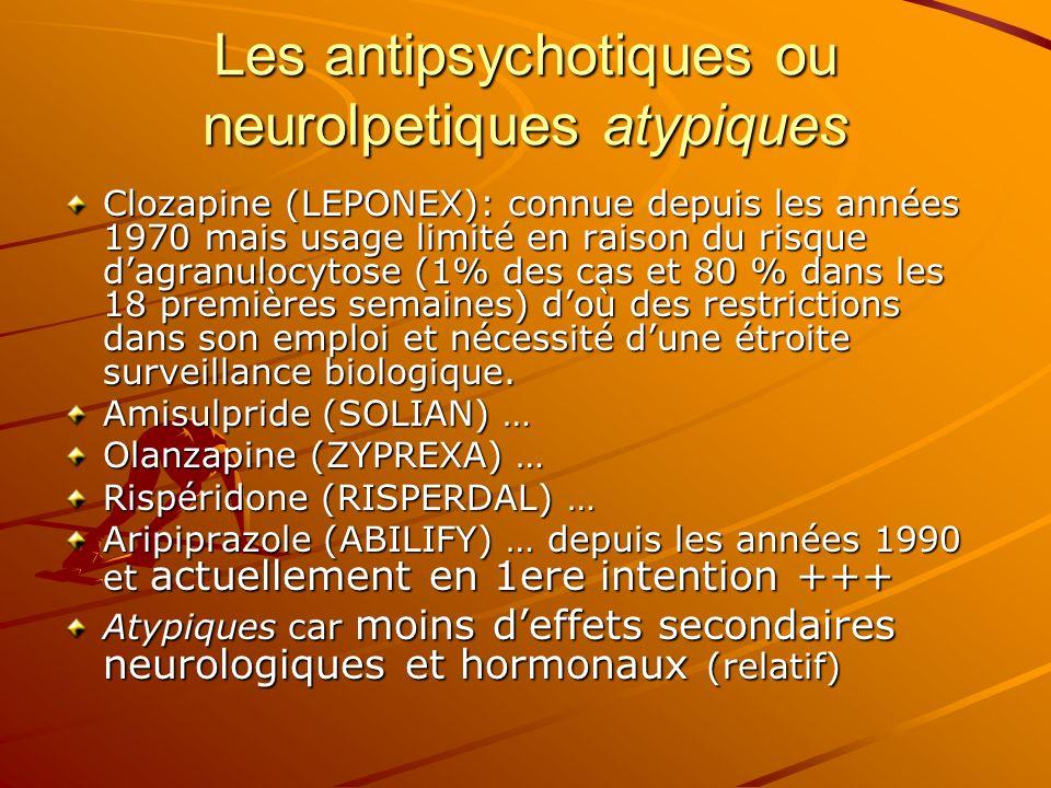 Clozapine (LEPONEX): connue depuis les années 1970 mais usage limité en raison du risque dagranulocytose (1% des cas et 80 % dans les 18 premières sem