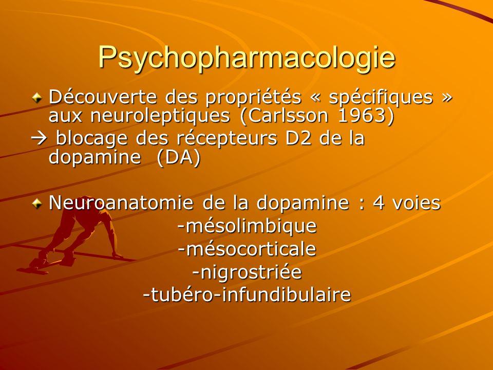 Psychopharmacologie Découverte des propriétés « spécifiques » aux neuroleptiques (Carlsson 1963) blocage des récepteurs D2 de la dopamine (DA) blocage