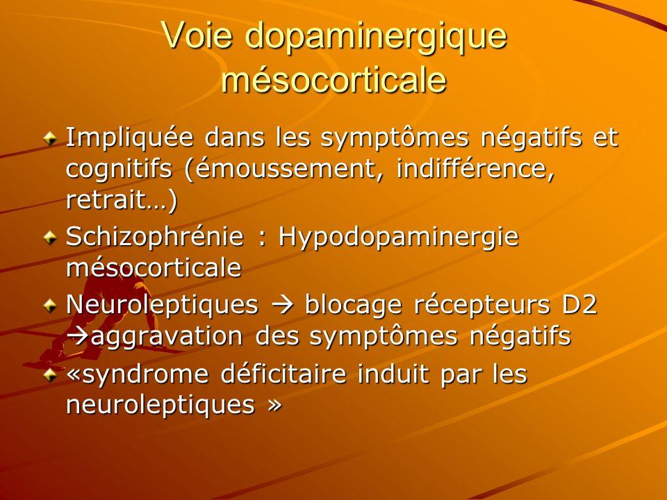 Voie dopaminergique mésocorticale Impliquée dans les symptômes négatifs et cognitifs (émoussement, indifférence, retrait…) Schizophrénie : Hypodopamin
