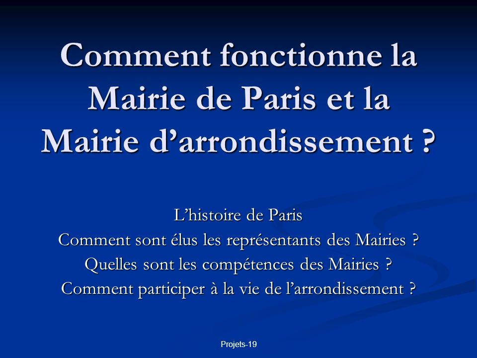 Projets-19 La ville de Paris 2 125 851 habitants en 1999 2 125 851 habitants en 1999 10 540 ha = 105,40 km² 10 540 ha = 105,40 km² Densité : 20 330 hab./km² En comparaison : Marseille : 798 430 hab.
