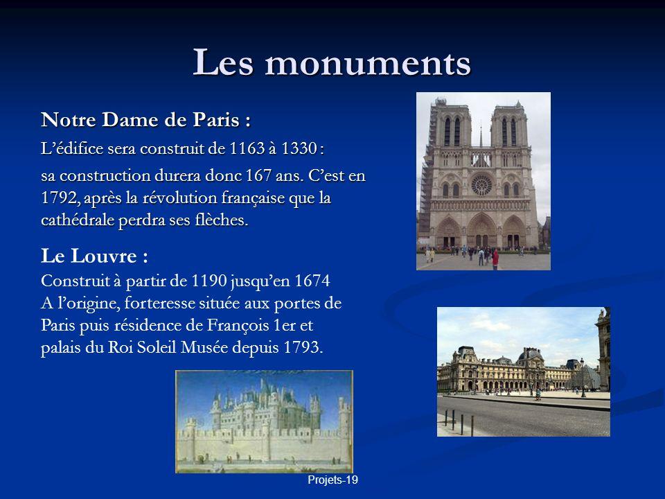 Projets-19 Les monuments L hôtel des Invalides : Construit sous Louis XIV dès 1670 pour abriter les soldats invalides ou trop âgés.
