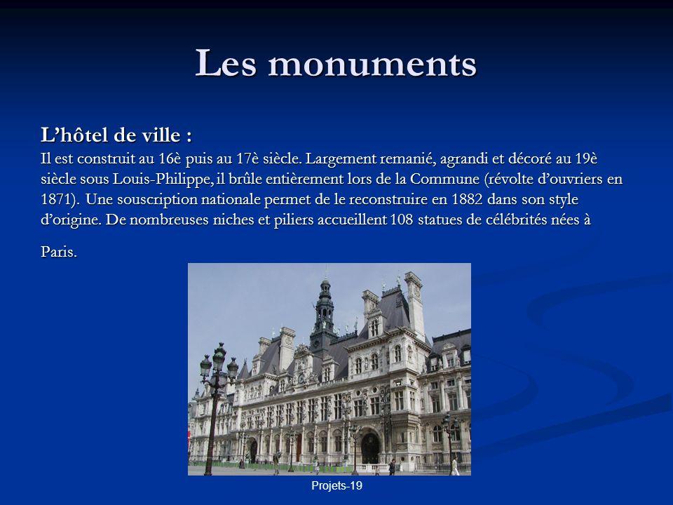 Projets-19 Les monuments La tour Eiffel : Construite en 1889 par Gustave Eiffel pour lexposition universelle.