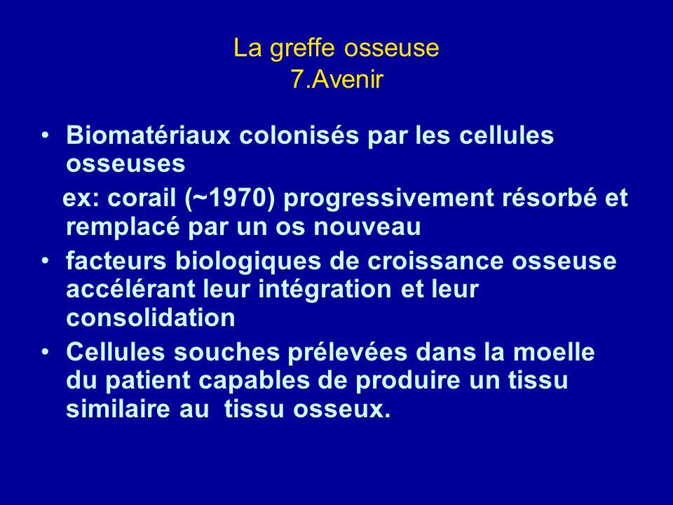 La greffe osseuse 7.Avenir Biomatériaux colonisés par les cellules osseuses ex: corail (~1970) progressivement résorbé et remplacé par un os nouveau f