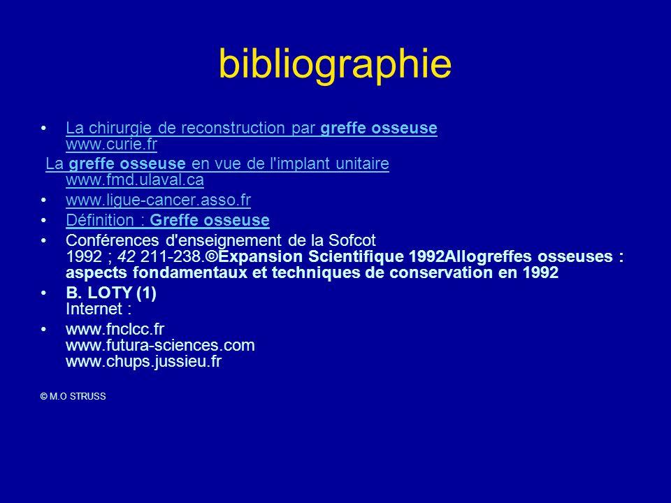 bibliographie La chirurgie de reconstruction par greffe osseuse www.curie.frLa chirurgie de reconstruction par greffe osseuse www.curie.fr La greffe o