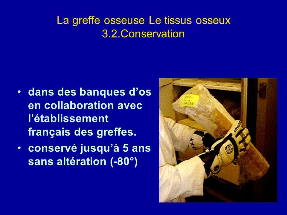 La greffe osseuse Le tissus osseux 3.2.Conservation dans des banques dos en collaboration avec létablissement français des greffes. conservé jusquà 5