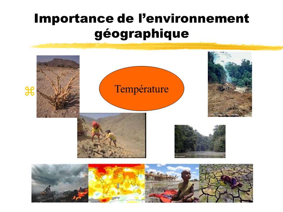 Importance de lenvironnement géographique z Température