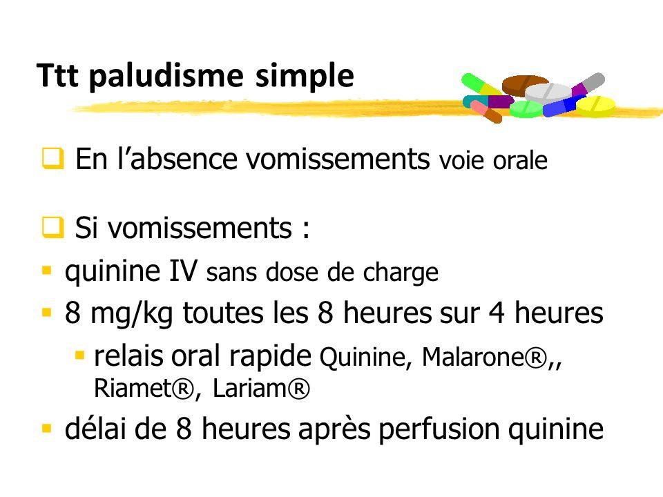 Ttt paludisme simple En labsence vomissements voie orale Si vomissements : quinine IV sans dose de charge 8 mg/kg toutes les 8 heures sur 4 heures relais oral rapide Quinine, Malarone®,, Riamet®, Lariam® délai de 8 heures après perfusion quinine