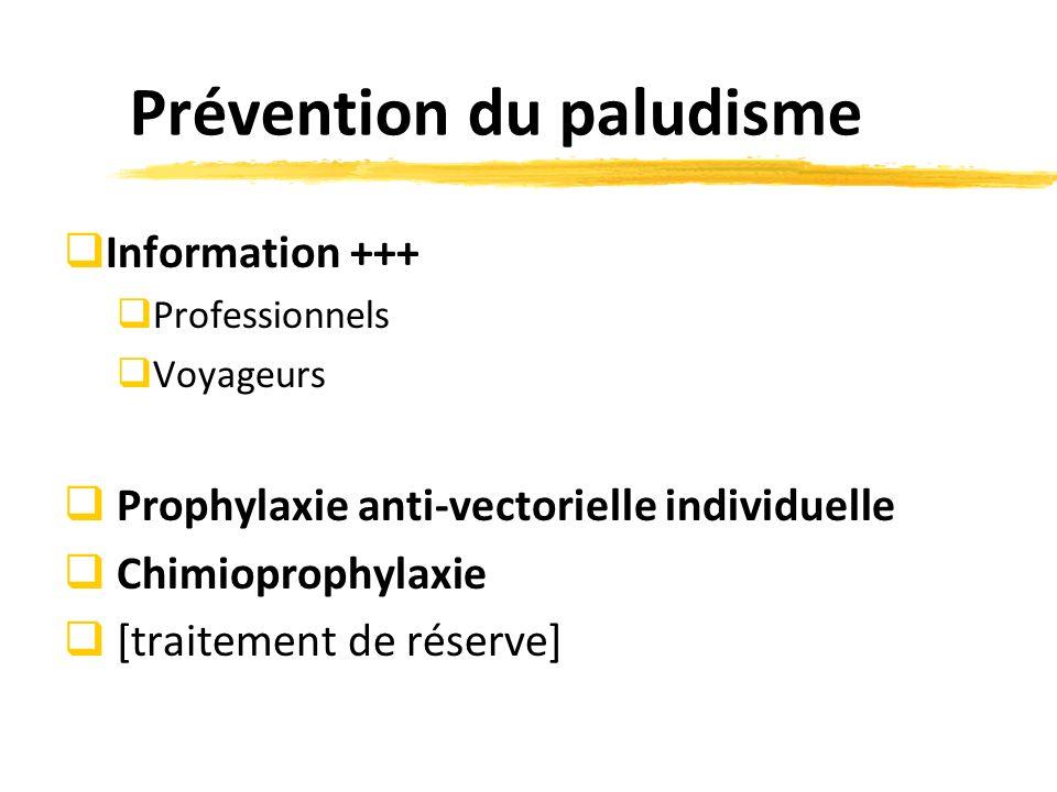 Prévention du paludisme Information +++ Professionnels Voyageurs Prophylaxie anti-vectorielle individuelle Chimioprophylaxie [traitement de réserve]