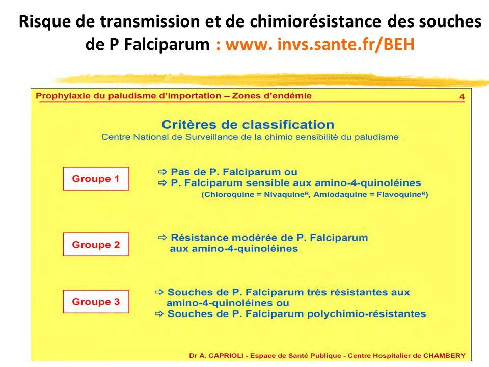 Risque de transmission et de chimiorésistance des souches de P Falciparum : www. invs.sante.fr/BEH