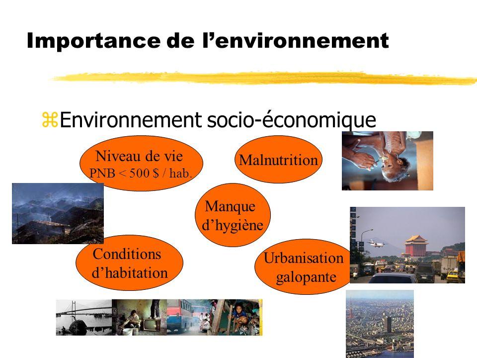 Importance de lenvironnement zEnvironnement socio-économique Niveau de vie PNB < 500 $ / hab.