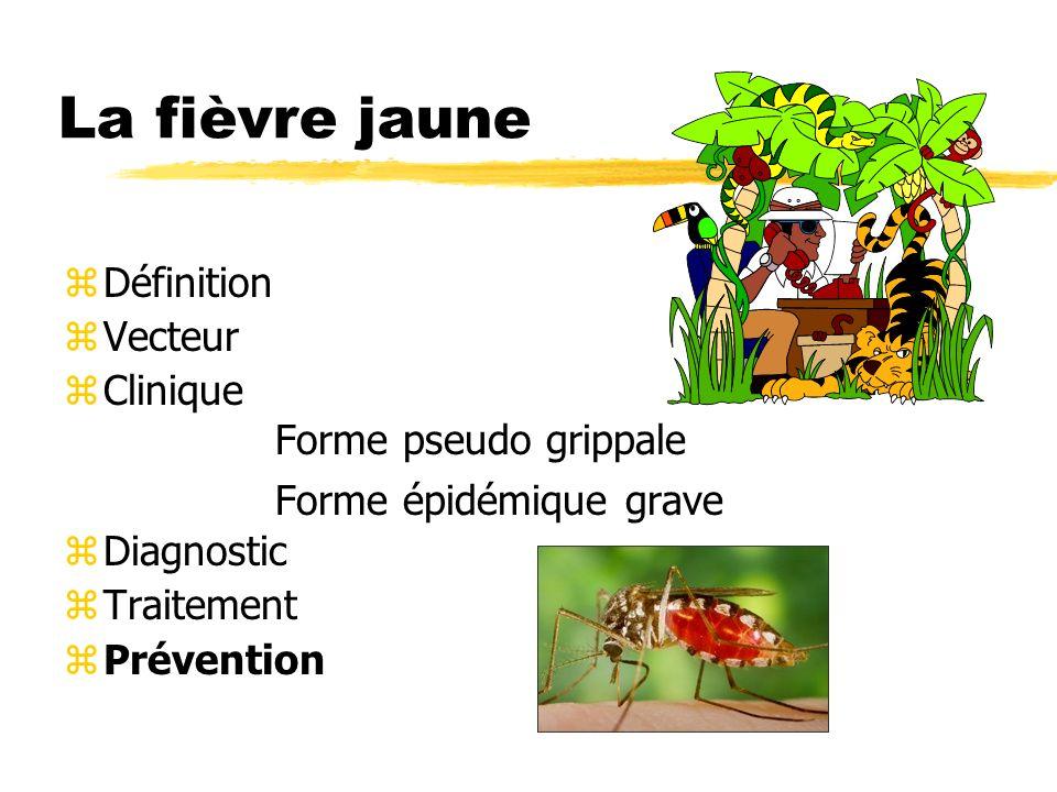 La fièvre jaune zDéfinition zVecteur zClinique Forme pseudo grippale Forme épidémique grave zDiagnostic zTraitement zPrévention