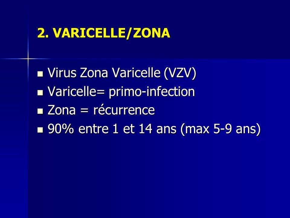 2. VARICELLE/ZONA Virus Zona Varicelle (VZV) Virus Zona Varicelle (VZV) Varicelle= primo-infection Varicelle= primo-infection Zona = récurrence Zona =