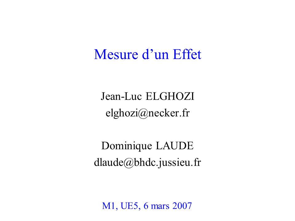 Mesure dun Effet Jean-Luc ELGHOZI elghozi@necker.fr Dominique LAUDE dlaude@bhdc.jussieu.fr M1, UE5, 6 mars 2007