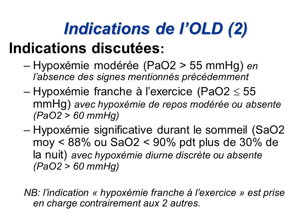 Indications de lOLD (2) Indications discutées : –Hypoxémie modérée (PaO2 > 55 mmHg) en labsence des signes mentionnés précédemment –Hypoxémie franche