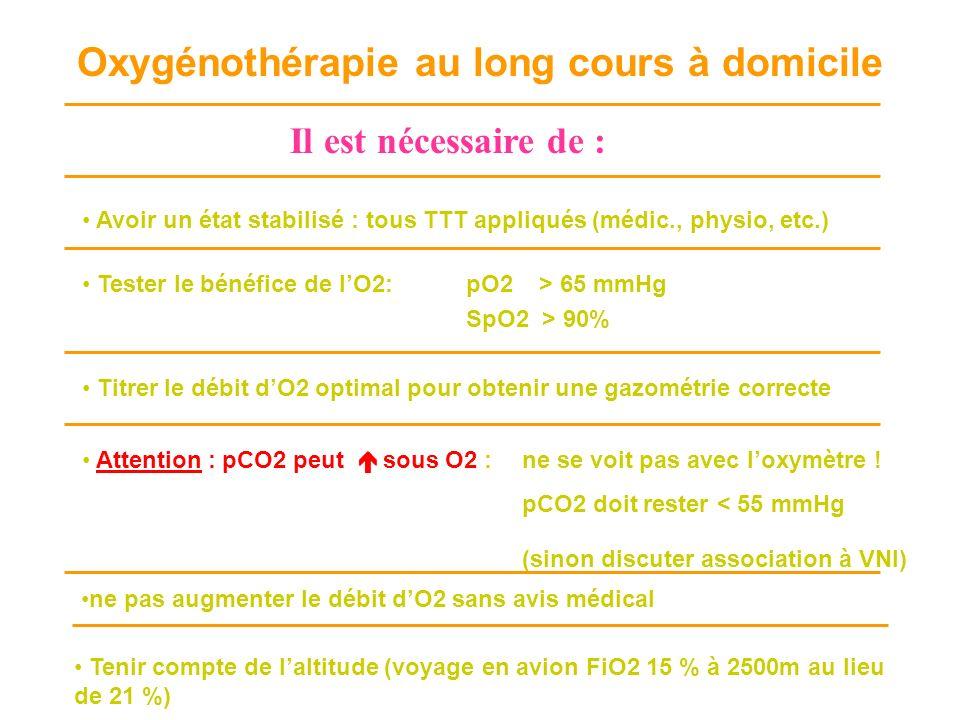 Avoir un état stabilisé : tous TTT appliqués (médic., physio, etc.) Tester le bénéfice de lO2: pO2 > 65 mmHg SpO2 > 90% Titrer le débit dO2 optimal po