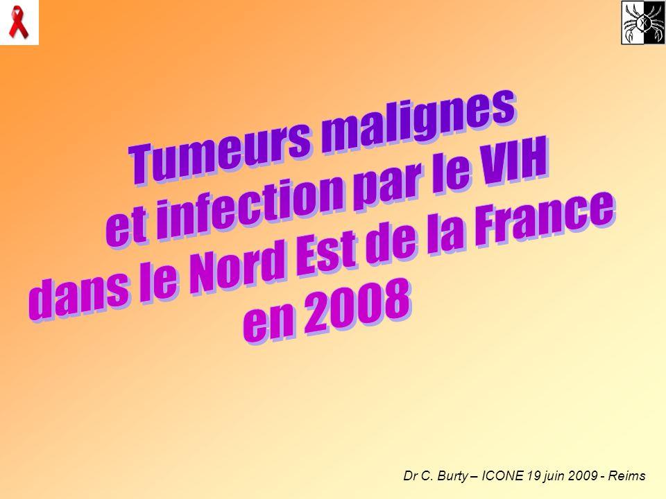 Patients avec CV indétectable 63% (34/54) ont CV < 50 copies/ml 26 H/8 F Age moy = 53 ans CD4 moy = 460/mm 3 ; nadir CD4 = 220/mm3 100% traités Tumeurs : –2 Kaposi, 3 LMNH, 3 Hodgkin –25 carcinomes : 6 peau, 2 anus, 1 foie, 3 poumon, 2 prostate, 2 v.