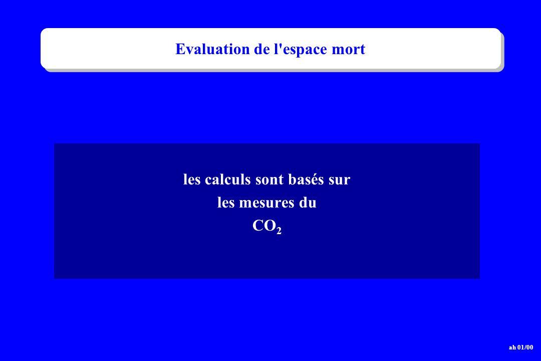 Evaluation de l'espace mort les calculs sont basés sur les mesures du CO 2 ah 01/00