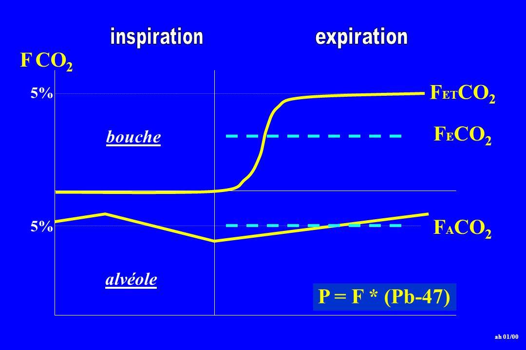 bouche alvéole F E CO 2 F A CO 2 F ET CO 2 5% F CO 2 ah 01/00 P = F * (Pb-47)