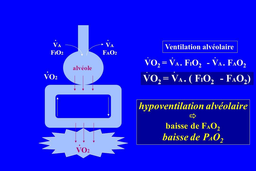 VO 2 alvéole VO 2 Ventilation alvéolaire VAFIO2VAFIO2 VAFAO2VAFAO2 VO 2 = V A. F I O 2 - V A. F A O 2 hypoventilation alvéolaire baisse de F A O 2 bai