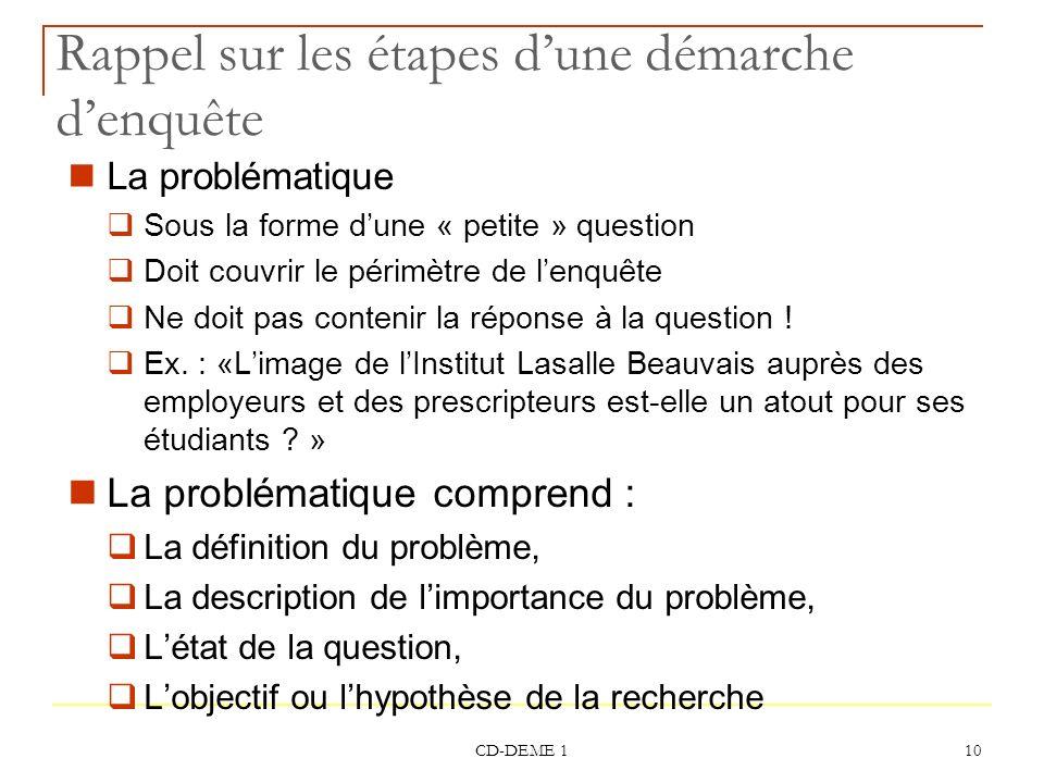 CD-DEME 1 10 Rappel sur les étapes dune démarche denquête La problématique Sous la forme dune « petite » question Doit couvrir le périmètre de lenquêt