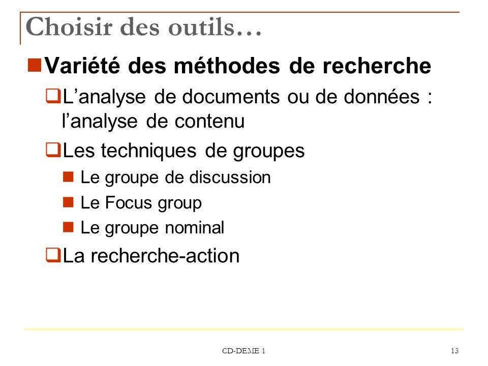 CD-DEME 1 13 Choisir des outils… Variété des méthodes de recherche Lanalyse de documents ou de données : lanalyse de contenu Les techniques de groupes