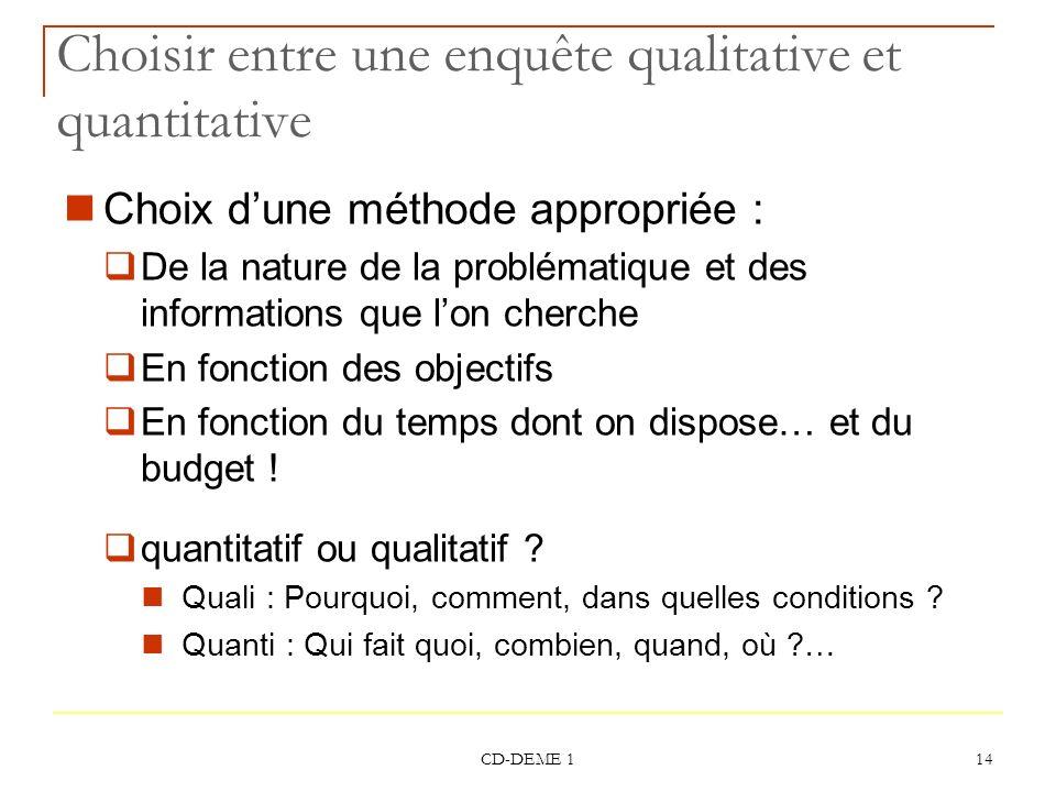 CD-DEME 1 14 Choisir entre une enquête qualitative et quantitative Choix dune méthode appropriée : De la nature de la problématique et des information