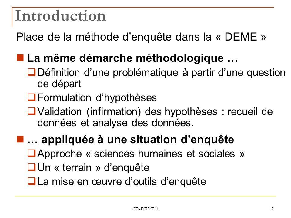 CD-DEME 1 2 Introduction Place de la méthode denquête dans la « DEME » La même démarche méthodologique … Définition dune problématique à partir dune q