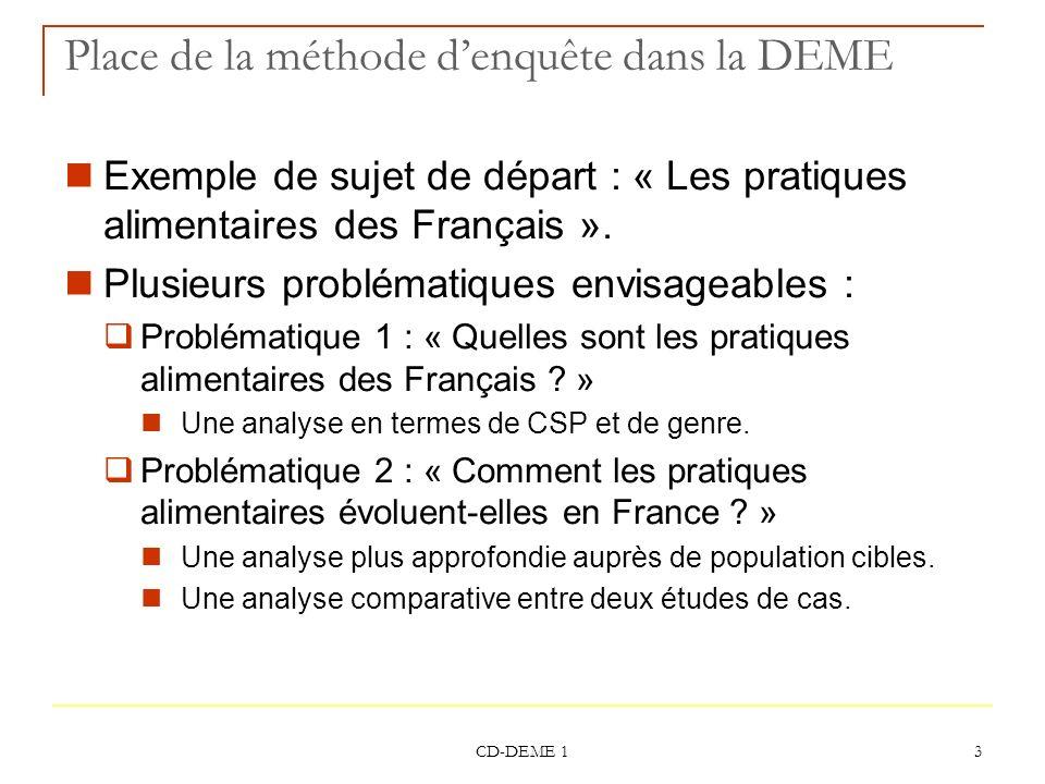 CD-DEME 1 14 Choisir entre une enquête qualitative et quantitative Choix dune méthode appropriée : De la nature de la problématique et des informations que lon cherche En fonction des objectifs En fonction du temps dont on dispose… et du budget .