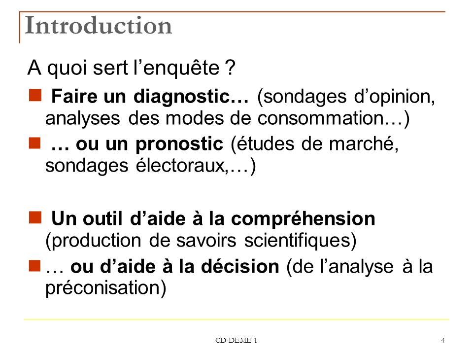 CD-DEME 1 4 Introduction A quoi sert lenquête ? Faire un diagnostic… (sondages dopinion, analyses des modes de consommation…) … ou un pronostic (étude