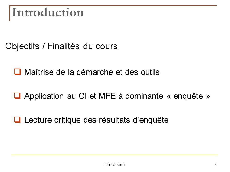 CD-DEME 1 5 Introduction Objectifs / Finalités du cours Maîtrise de la démarche et des outils Application au CI et MFE à dominante « enquête » Lecture