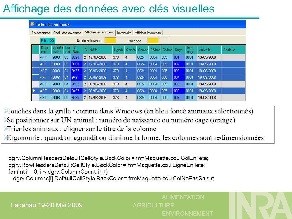 ALIMENTATION AGRICULTURE ENVIRONNEMENT Lacanau 19-20 Mai 2009 Affichage des données avec clés visuelles Touches dans la grille : comme dans Windows (e