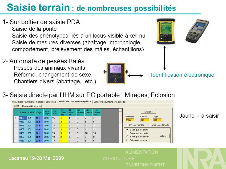 ALIMENTATION AGRICULTURE ENVIRONNEMENT Lacanau 19-20 Mai 2009 2- Automate de pesées Baléa Identification électronique Saisie terrain : de nombreuses p