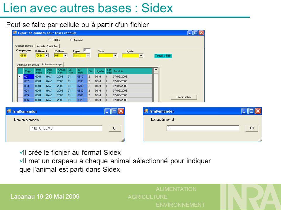 ALIMENTATION AGRICULTURE ENVIRONNEMENT Lacanau 19-20 Mai 2009 Lien avec autres bases : Sidex Il créé le fichier au format Sidex Il met un drapeau à ch