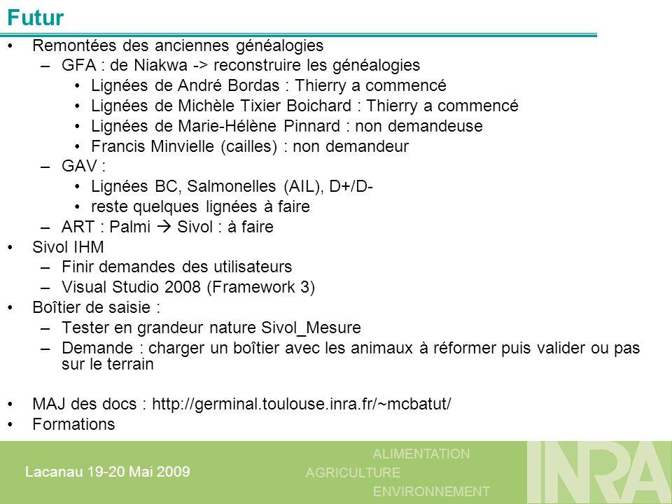 ALIMENTATION AGRICULTURE ENVIRONNEMENT Lacanau 19-20 Mai 2009 Remontées des anciennes généalogies –GFA : de Niakwa -> reconstruire les généalogies Lig