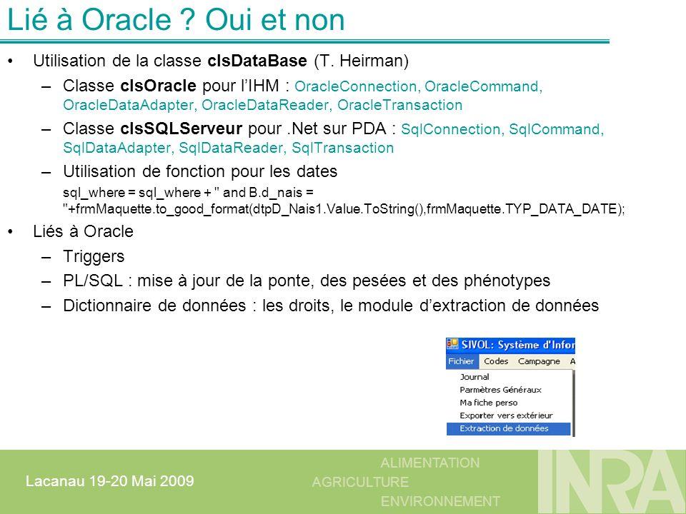 ALIMENTATION AGRICULTURE ENVIRONNEMENT Lacanau 19-20 Mai 2009 Lié à Oracle ? Oui et non Utilisation de la classe clsDataBase (T. Heirman) –Classe clsO