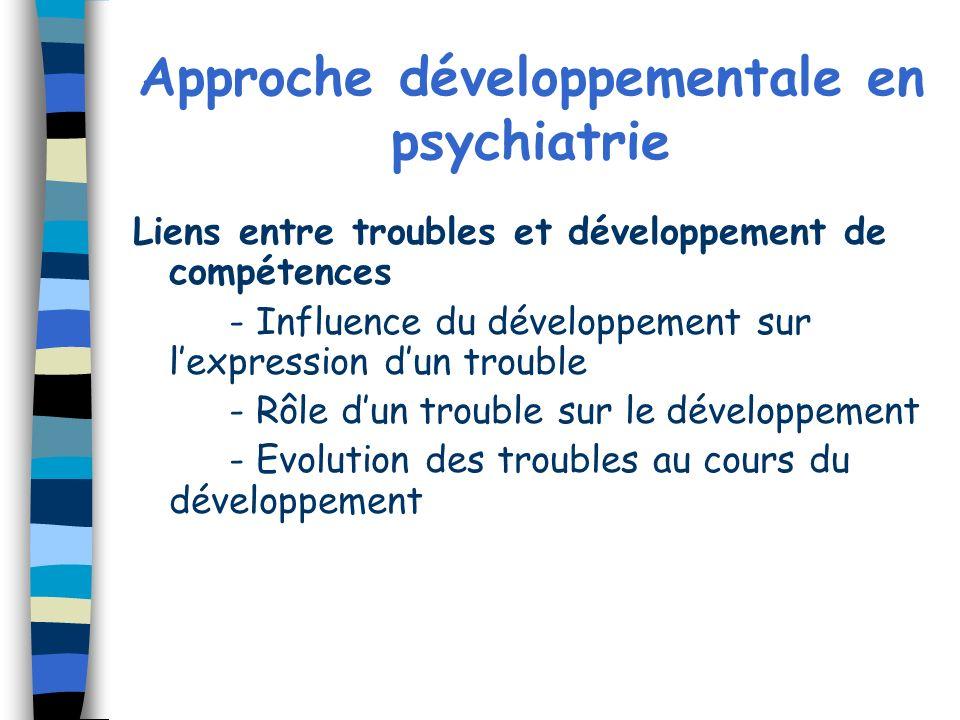 Approche développementale en psychiatrie Liens entre troubles et développement de compétences - Influence du développement sur lexpression dun trouble