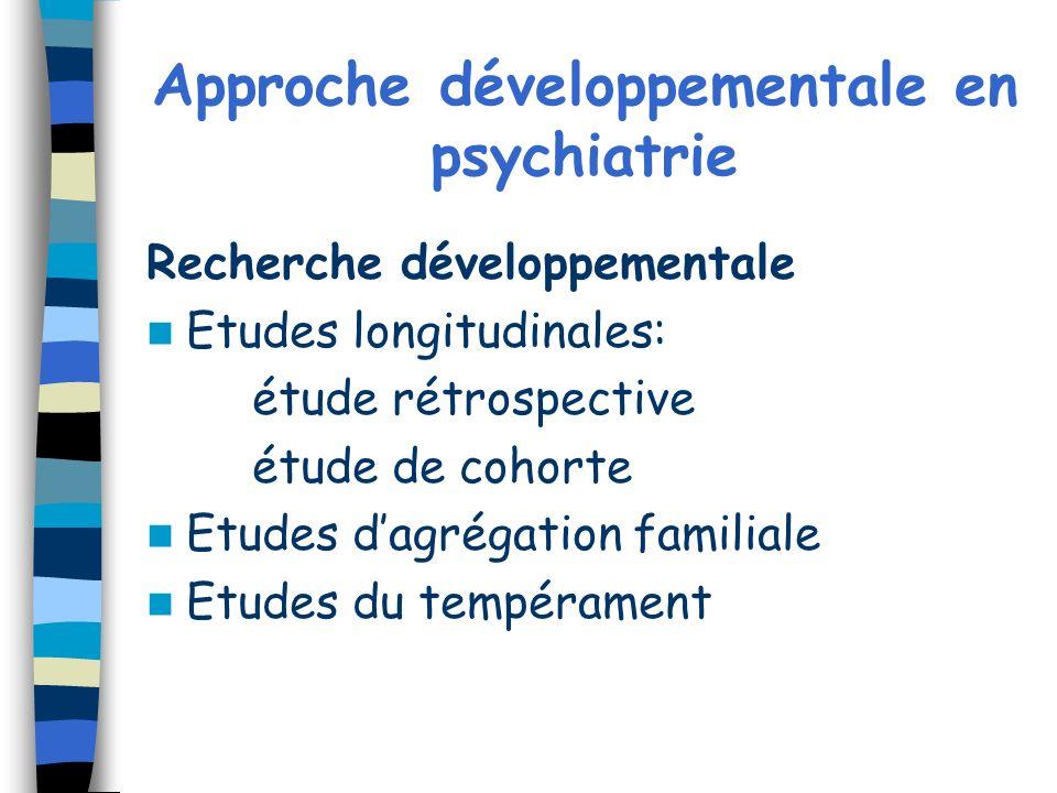 Approche développementale en psychiatrie Recherche développementale Etudes longitudinales: étude rétrospective étude de cohorte Etudes dagrégation fam