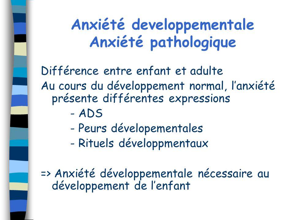 Anxiété developpementale Anxiété pathologique Différence entre enfant et adulte Au cours du développement normal, lanxiété présente différentes expres