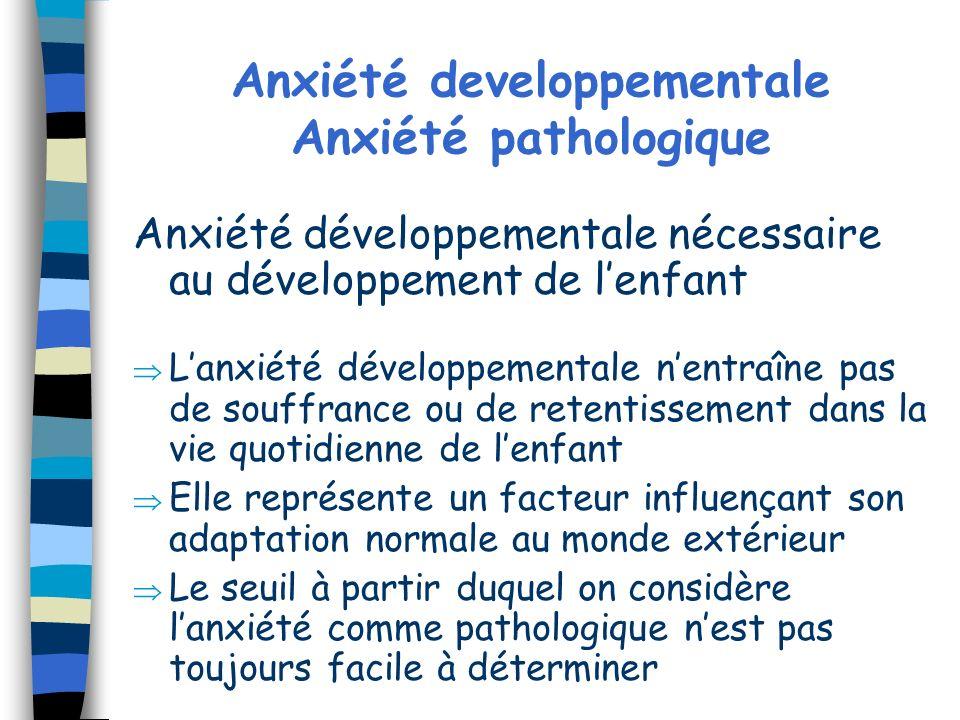 Anxiété developpementale Anxiété pathologique Anxiété développementale nécessaire au développement de lenfant Lanxiété développementale nentraîne pas