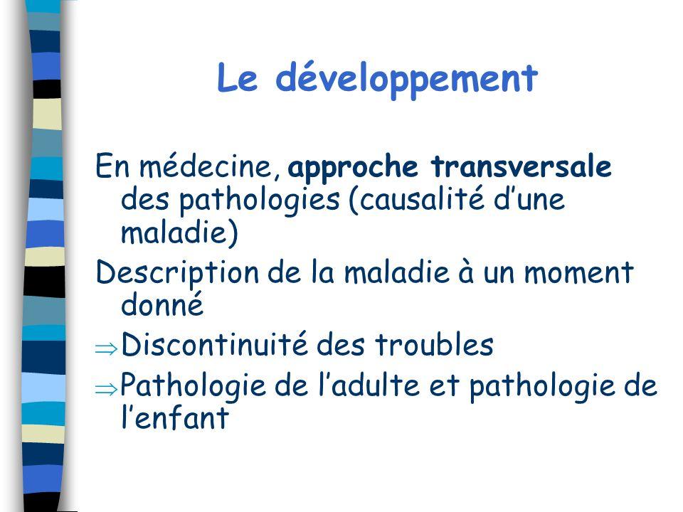 Le développement En médecine, approche transversale des pathologies (causalité dune maladie) Description de la maladie à un moment donné Discontinuité