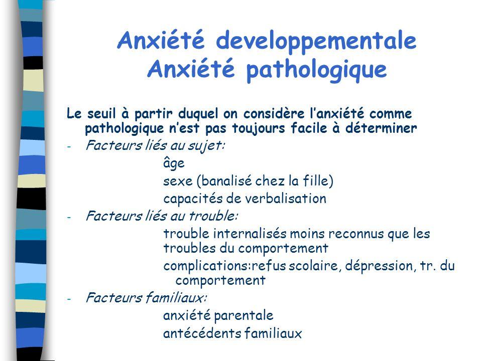 Anxiété developpementale Anxiété pathologique Le seuil à partir duquel on considère lanxiété comme pathologique nest pas toujours facile à déterminer