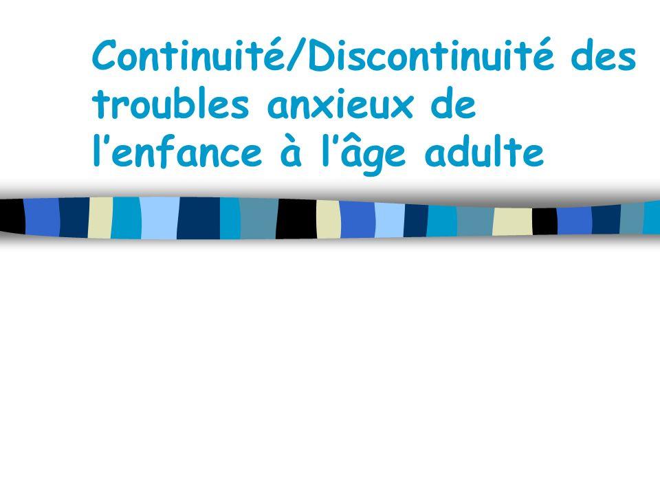 Continuité/Discontinuité des troubles anxieux de lenfance à lâge adulte