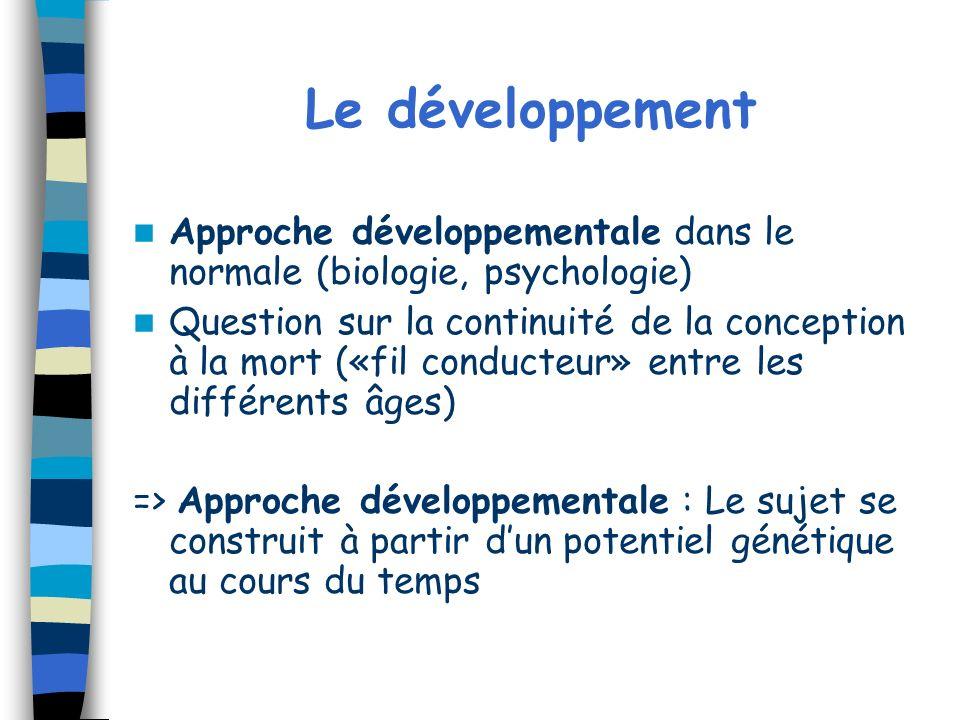 Le développement Approche développementale dans le normale (biologie, psychologie) Question sur la continuité de la conception à la mort («fil conduct