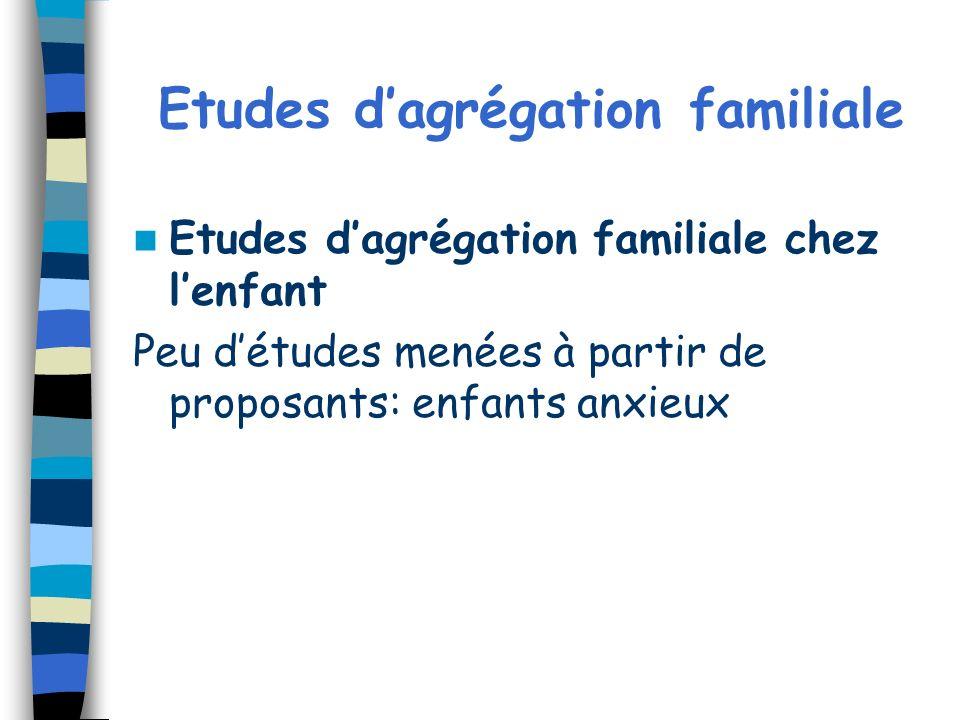 Etudes dagrégation familiale Etudes dagrégation familiale chez lenfant Peu détudes menées à partir de proposants: enfants anxieux