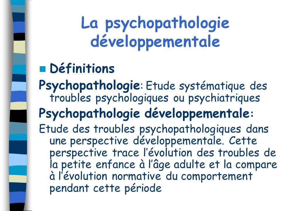 La psychopathologie développementale Définitions Psychopathologie : Etude systématique des troubles psychologiques ou psychiatriques Psychopathologie